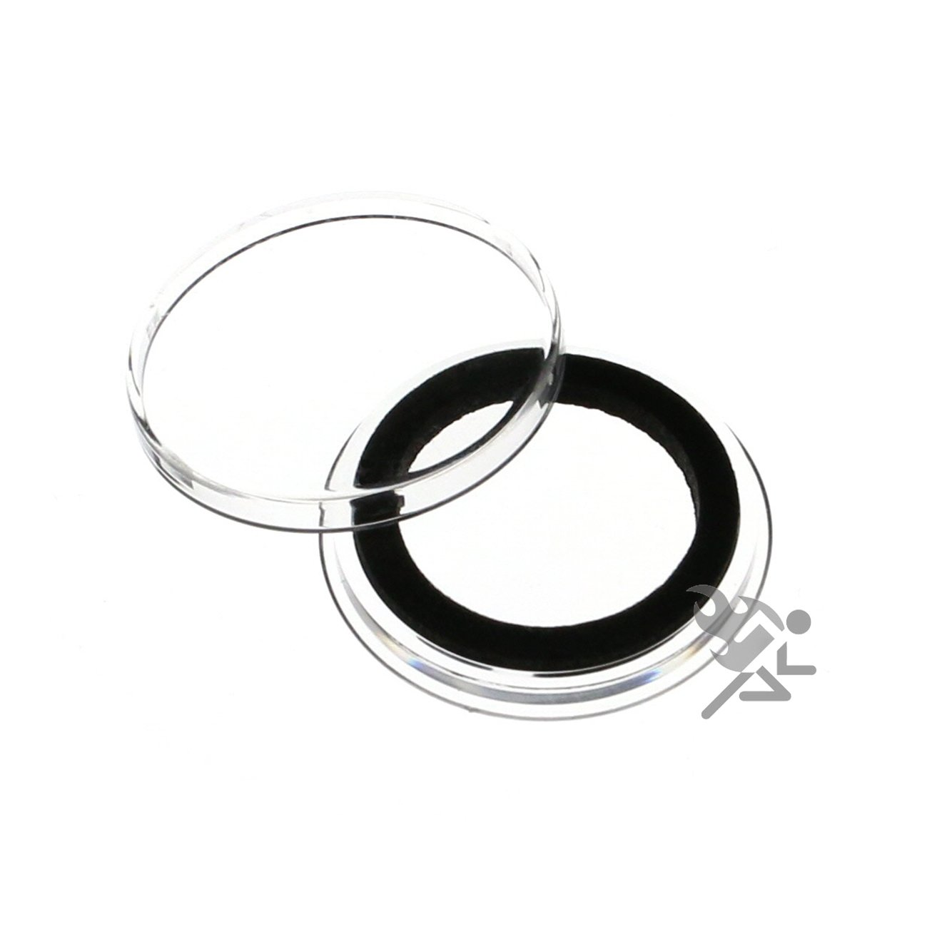 100 Air-Tite 24mm Black Ring Coin Holder Capsules for Quarters