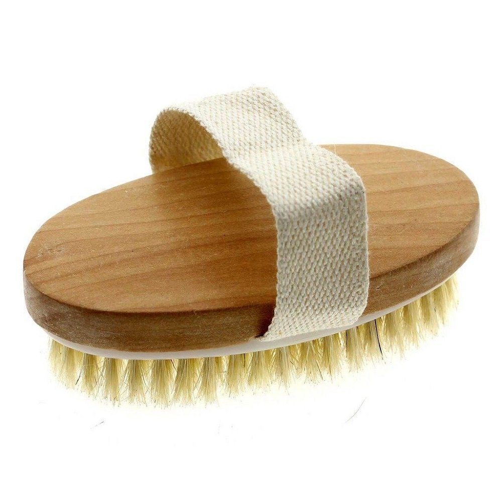 Natural Professional Dry Skin Body Brush, Long Natural Bristles, Cellulite Treatment, Exfoliates, Stimulates Blood Circulation, Promote Healthy Glowing Skin (Wood)