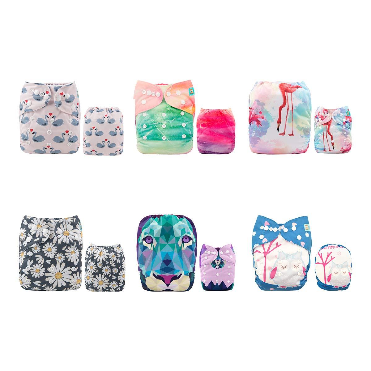 Alva baby cada paquete tiene 6pcs pañal y 2 inserciones ajustado pañal lavable de tela (
