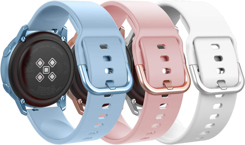 MoKo Reloj Correa Compatible con Galaxy Watch Active/Active 2/Galaxy Watch 42mm/Huawei Watch GT 2 42mm/Garmin Vivoactive 3/Ticwatch E, [3-Pack] 20mm Pulsera de Silicona - Azul Claro y Rosa y Blanco