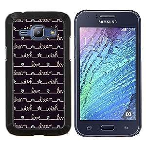 Caucho caso de Shell duro de la cubierta de accesorios de protección BY RAYDREAMMM - Samsung Galaxy J1 J100 - estrellas del diario del cuaderno de escritura negro