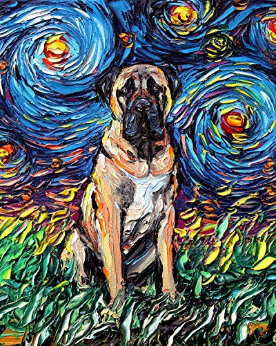 Night Rectangle Art Print Cute dog artwork by Aja cute colorful van Gogh wall decor choose size and type of paper ()