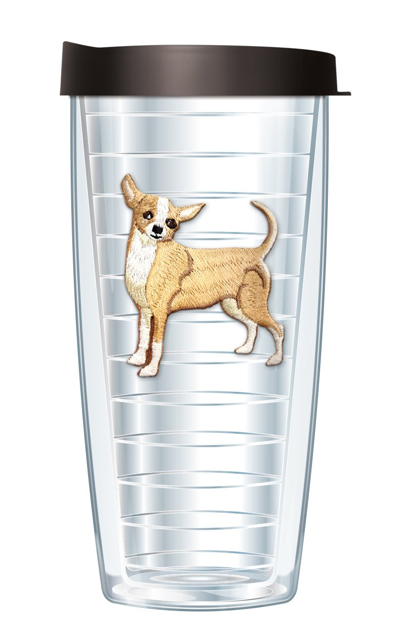 Chihuahua Emblem Traveler 16 Oz Tumbler Cup with Black Lid