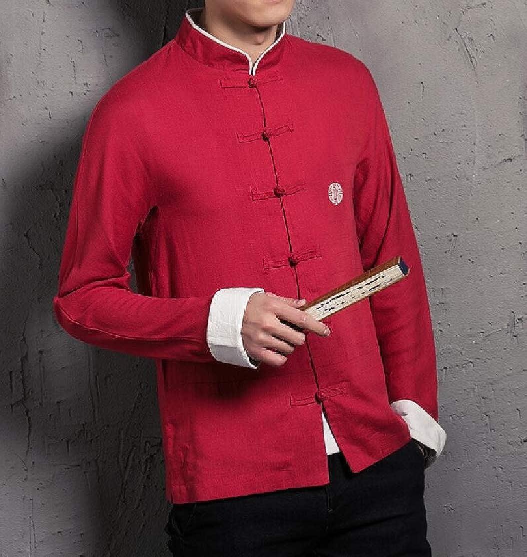 KLJR Men Slim Chinese Style Frog Button Vintage Long Sleeve Cotton Linen Shirt