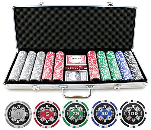 13.5g 500pc Aces Up Clay Poker Chips Set by Versa Games