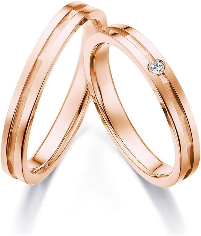 Beydodo Anillo Hombre y Mujer 1Par 18K Oro Redondo Mosaico Diamante Blanco 0.04ct