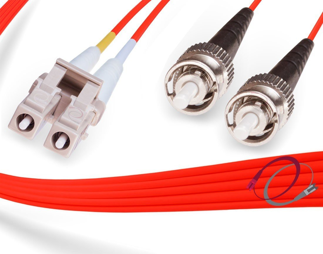 3M OM1 LC ST Red Fiber Patch Cable   Duplex 62.5/125 LC to ST Multimode Jumper 3 Meter (9.84ft)   Length Options: 0.5M -300M   FiberCablesDirect   mmf lc-st dx mm ofnr 62.5 lc/st optical patchcord
