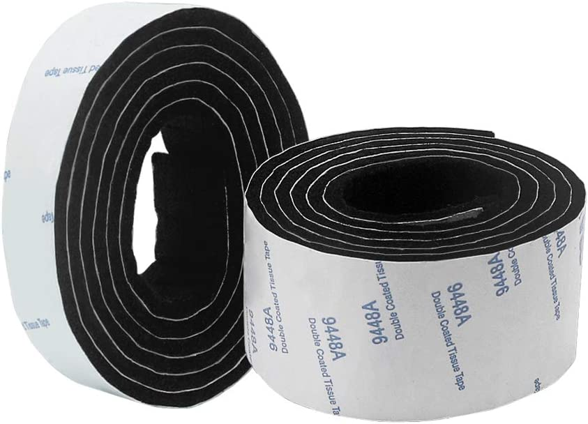 Shintop Felt Tape DIY Adhesive Heavy Duty Felt Strip Roll Cut into Any Shape to Protect Your Hardwood and Laminate Flooring (2 Rolls of Different Size, Black)