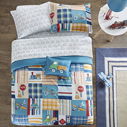 8 Piece Boys Transportation Patchwpork Plaid Comforter Full Set, Fun All Over Train Train Bicycle Airplane Pattern Bedding, Car Bus Stop Sign Light Stripe Themed Blue Red
