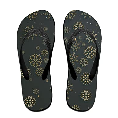 Couple Flip Flops Snowflakes Gold Black Print Chic Sandals Slipper Rubber Non-Slip Beach Thong Slippers