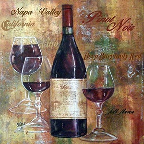 - Napa Valley Pinot Lettered Poster Print by Jamie Carter (12 x 12)