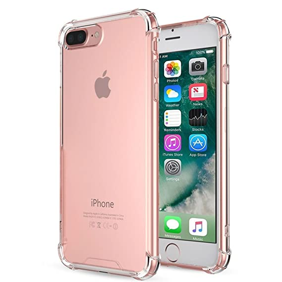 new style 9b649 85a66 Yoyamo Crystal Clear Case Cover Shock Absorption Case with Soft TPU Gel  Bumper for iPhone 8 Plus iPhone 7 Plus