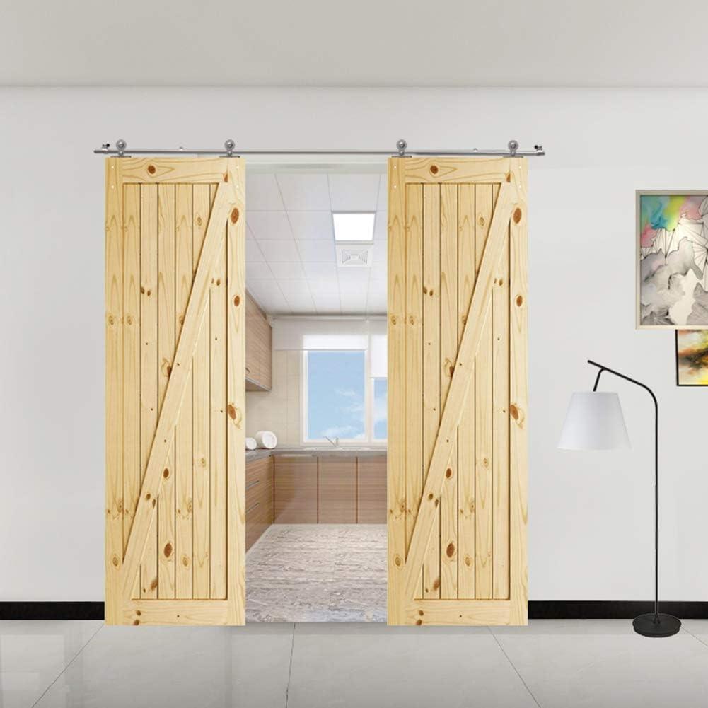 CCJH 9FT-275cm Acero Inoxidable Herraje para Puerta Corredera Kit de Accesorios para Puertas Correderas Rueda Riel Juego para Dos Puertas de Madera: Amazon.es: Bricolaje y herramientas