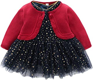 Auro Mesa Toddler's Girls' Dress Sets Christmas Dress Knit Cardigan Long Sleeve Princess Girls Party Dress