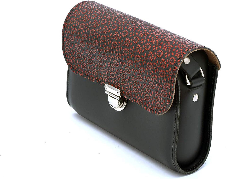 A to Z Leather Borse a mano classiche a tracolla in pelle da donna grandi e piccole fatte a mano. Offri iniziali gratuite Piccolo - Fiori Bianchi E Neri Rossi