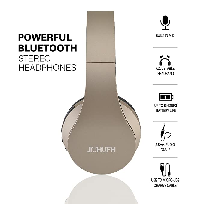 Amazon.com: Wireless Headphones with Mic, JIUHUFH Foldable Over Ear Bluetooth Headphone Headsets for Gym Travel Work (Sweatproof, Support FM Radio & SD Card ...