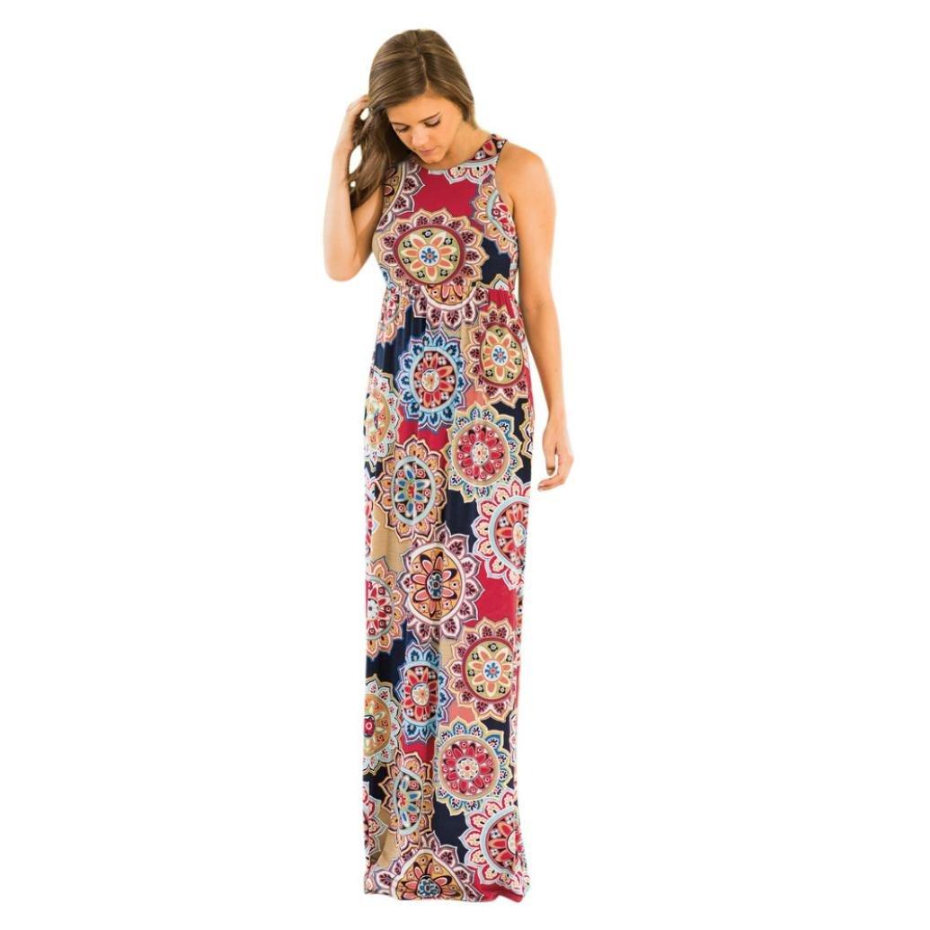 "BCDshop Women Mandela Print Pocket Tank Dress Fashion Summer Party Sleeveless Long Maxi Dress (Red, XXL(Chest 43.3"")) by BCDshop"