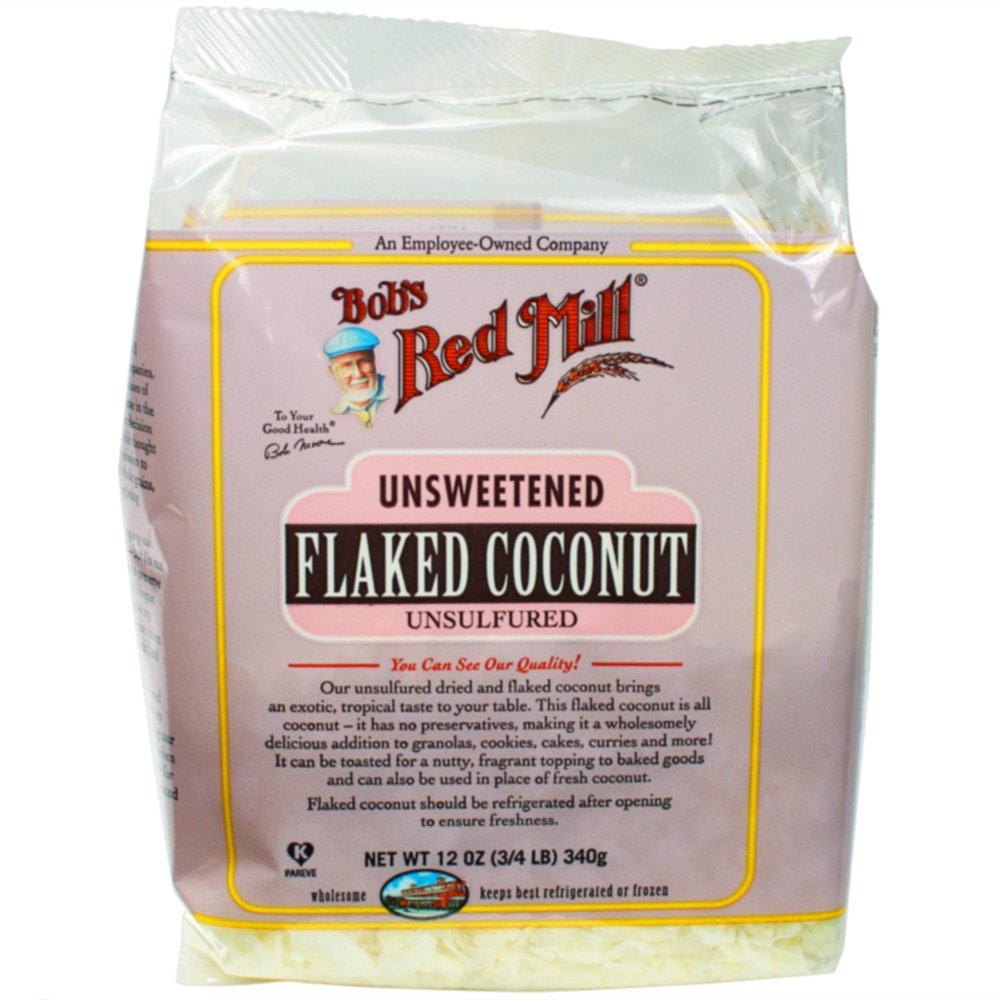 Bob's Red Mill Unsweetened Flaked Coconut, 12 Oz (4 Pack)