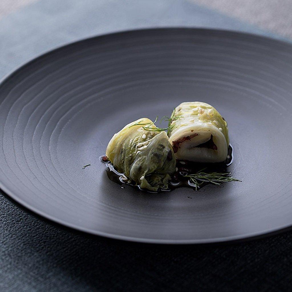 He Xiang Ya Shop Round plate cutlery black ceramic flat dish deep dish fruit salad plate steak plate home 21.3 cm (8 inches) by He Xiang Ya Shop (Image #4)