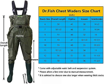 100/% Impermeable Nylon y PVC con cintur/ón de vadeo Botas de Pesca FISHINGSIR Vadeador de Pesca para Hombre