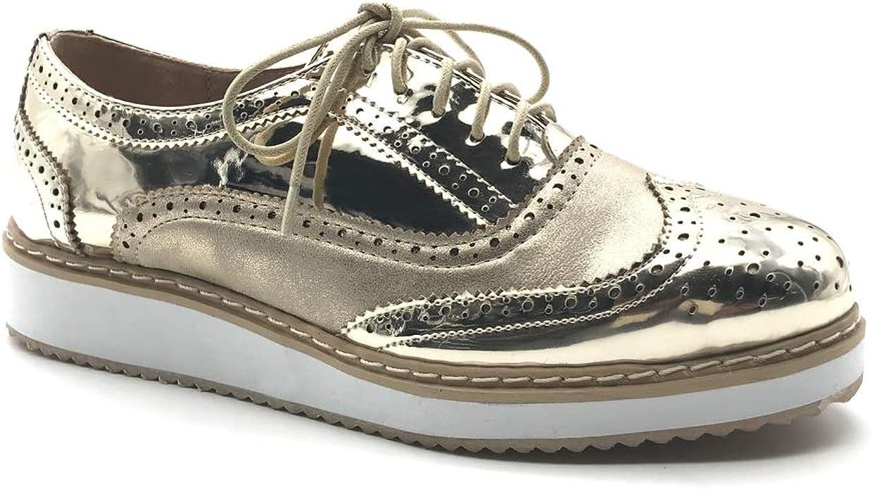 Chaussure Mode Derbies Plateforme bi-mati/ère Femme Fermeture Zip Verni perfor/ée Talon compens/é 4.5 CM Angkorly