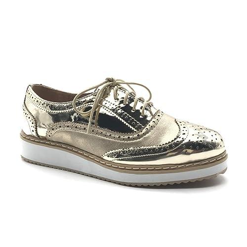 cómo hacer pedidos comprar mejor venta Angkorly - Zapatillas Moda Zapato Derby Working Girl Suela ...