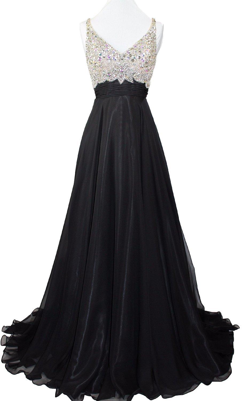 Ovitina Women's Long Rhinestone Sexy Beaded Formal Black Open Back Prom Dresses Black us8