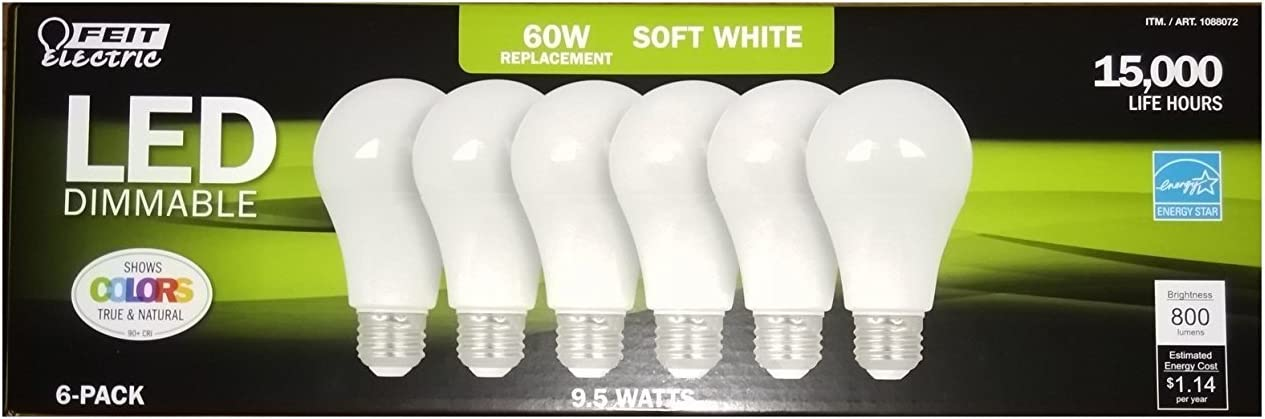 Feit Electric 6 Pack of LED Dimmable 60 Watt/9.5 Watt Replacement Soft White A19 (standard style) Bulb