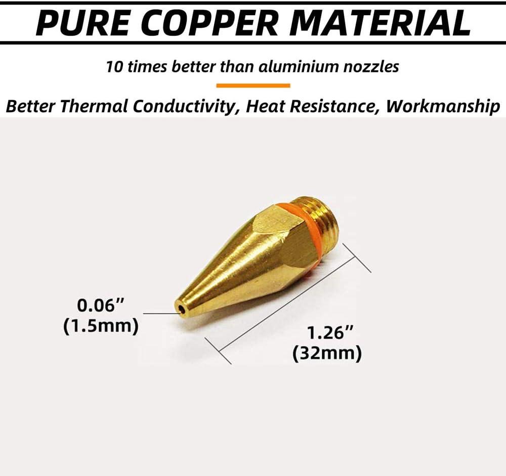 2.76 inch Wrench 4Pcs 70mm Durable Brass Hot Melt Glue Gun Nozzle Long Nozzle