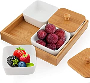 Snack Serving Tray, 4 Compartment Removable Ceramic Bowls with Bamboo Lid and Tray, 6 Ounce Candy Serving Dishes for Food Snacks, Condiments, Appetizers, Nuts, Dipping - Set of 4