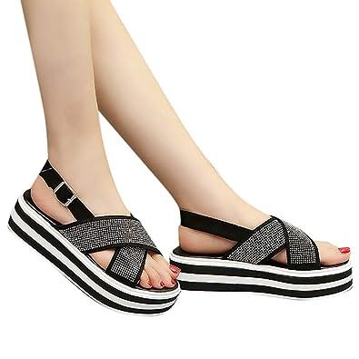 Damen Keilabsatz Sandalen Badeschuhe Lack Plateau Schuhe Sommer Strand Peep Toe