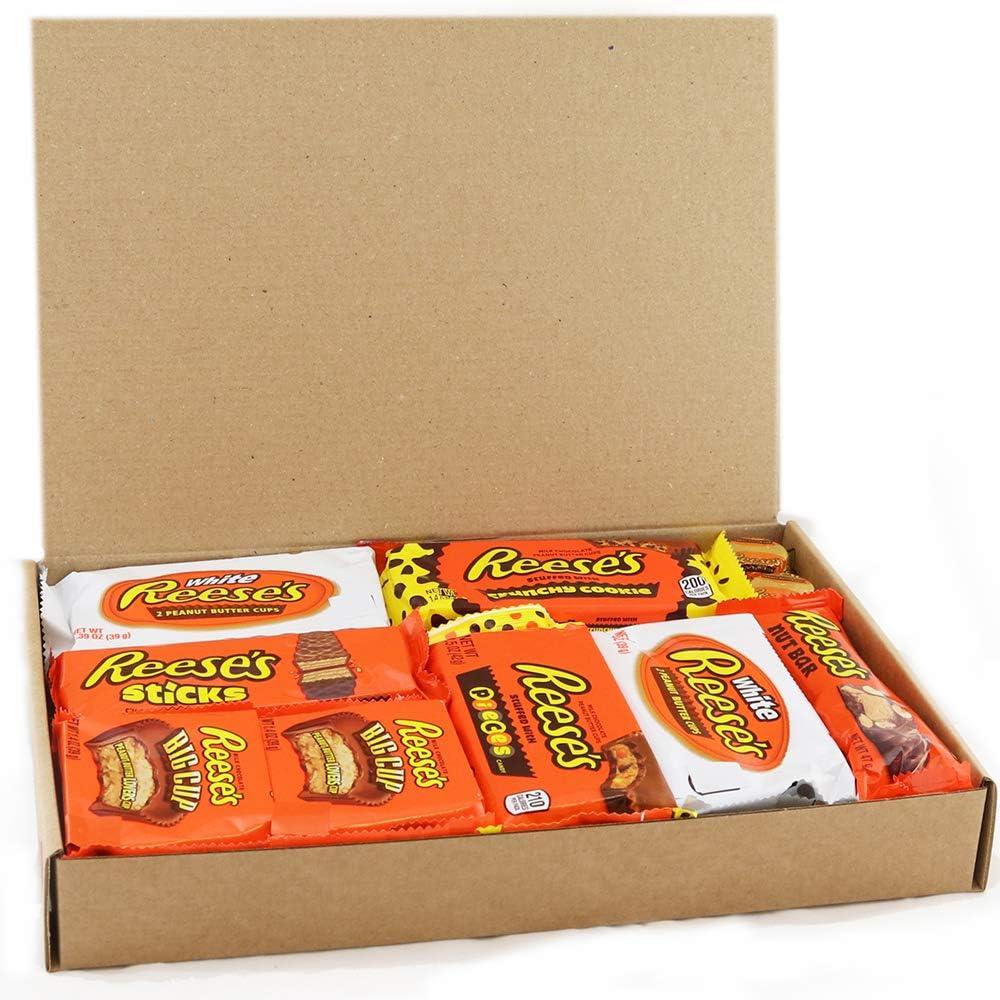 Heavenly Sweets Dulces Reeses Cesta de Chocolate Americano - Chocolates y Mantequilla Mani Favoritos de EEUU - Tazas y Barra - Regalo para Cumpleaños, Navidad - 17 Golosinas, Pack Retro -28x19x4 cm: