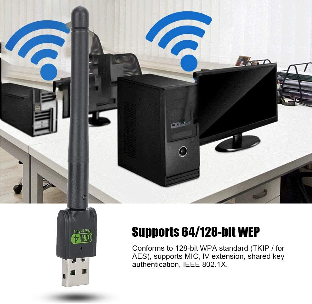Tangxi 150M 2.4Ghz Drive-Free USB Network Card Chipset for Realtek RTL8188GU USB2.0 Drive-Free Wireless Network Card with 2dBi High Gain Antenna Support for Win XP//Vista//7//8//8.1//10