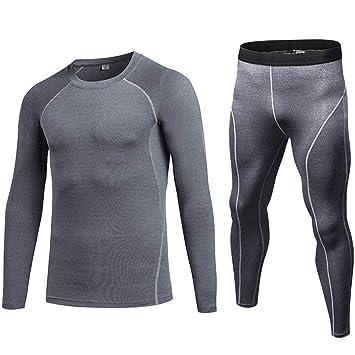 Shengwan 2 Piezas Ropa Deportiva Hombre Camiseta de Compresión de Manga  Larga y Pantalones de Compresión a248ff0d589d4