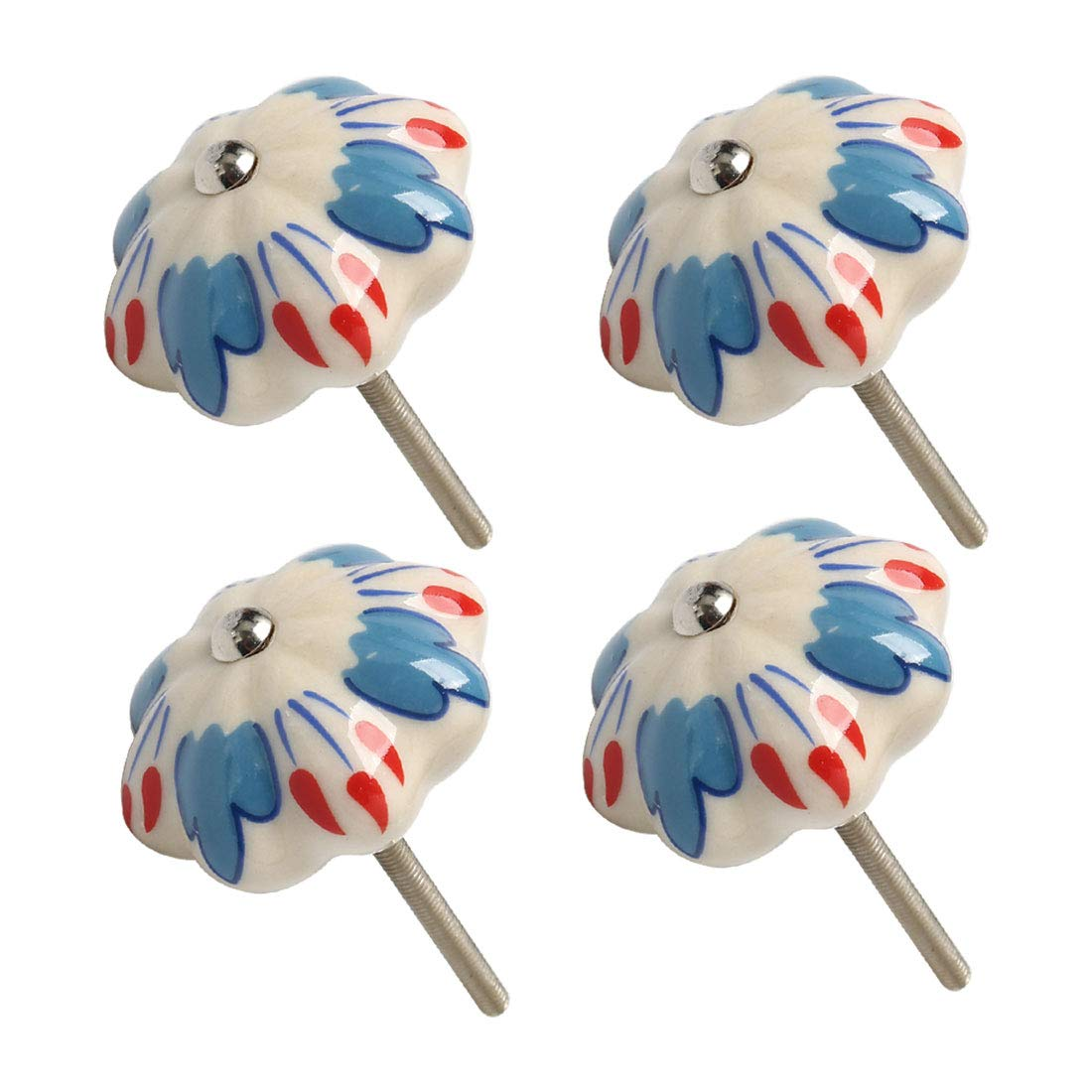 uxcell Ceramic Knobs Drawer Hand Printed Pull Handle Furniture Door Cabinet Cupboard Wardrobe Dresser Replacement #4