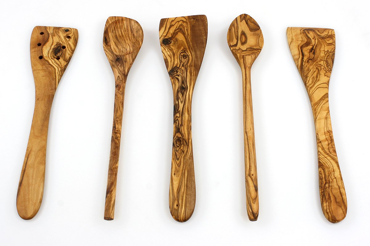Tramanto Olive Wood Spatulas, Turner and Spoons Cooking Utensil Set, 12 inches - Corner Spoon, Round Spoon, Curved Spatula, Flat Spatula and Slotted Spatula