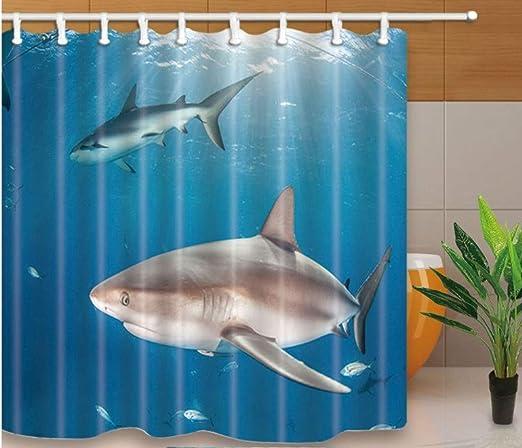 Yiciyici Dolphin Impreso Eco-Friend Baño Cortina Poliéster Lavado Decoración De Baño Cortinas De Ducha Mampara De Baño con Ganchos 180(H) X180(W): Amazon.es: Hogar