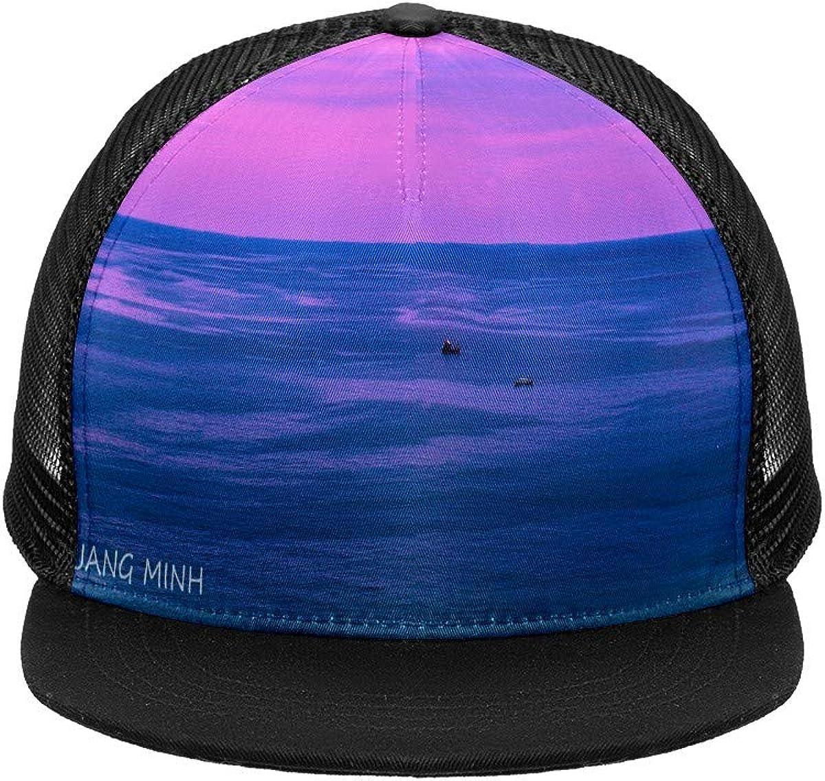 Beautiful Scene Mesh Baseball Cap Black Trucker Hat for Men Women Summer Headgear Adjustable Mens Snap Backs Sun Hats Hip Hop Flat Brim Brimmed caps Sports Outdoors One Size Fits All
