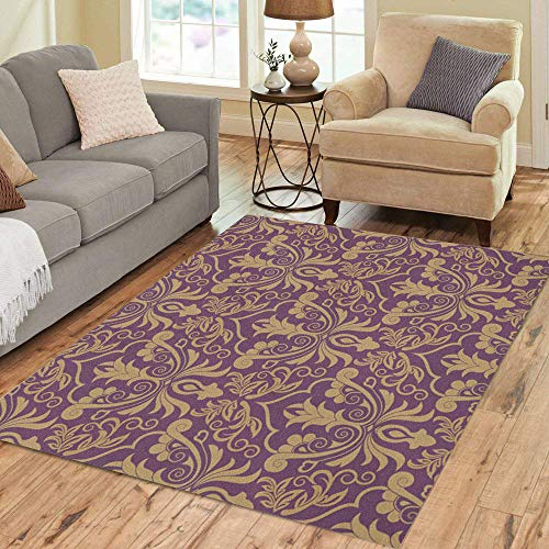 Pinbeam Area Rug Purple Pattern Damask Floral Western Abstract Antique Baroque Home Decor Floor Rug 3' x 5' Carpet ()
