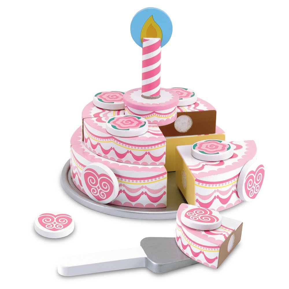 Melissa & Doug Triple-Layer Party Cake Wooden Play Food Set 14069