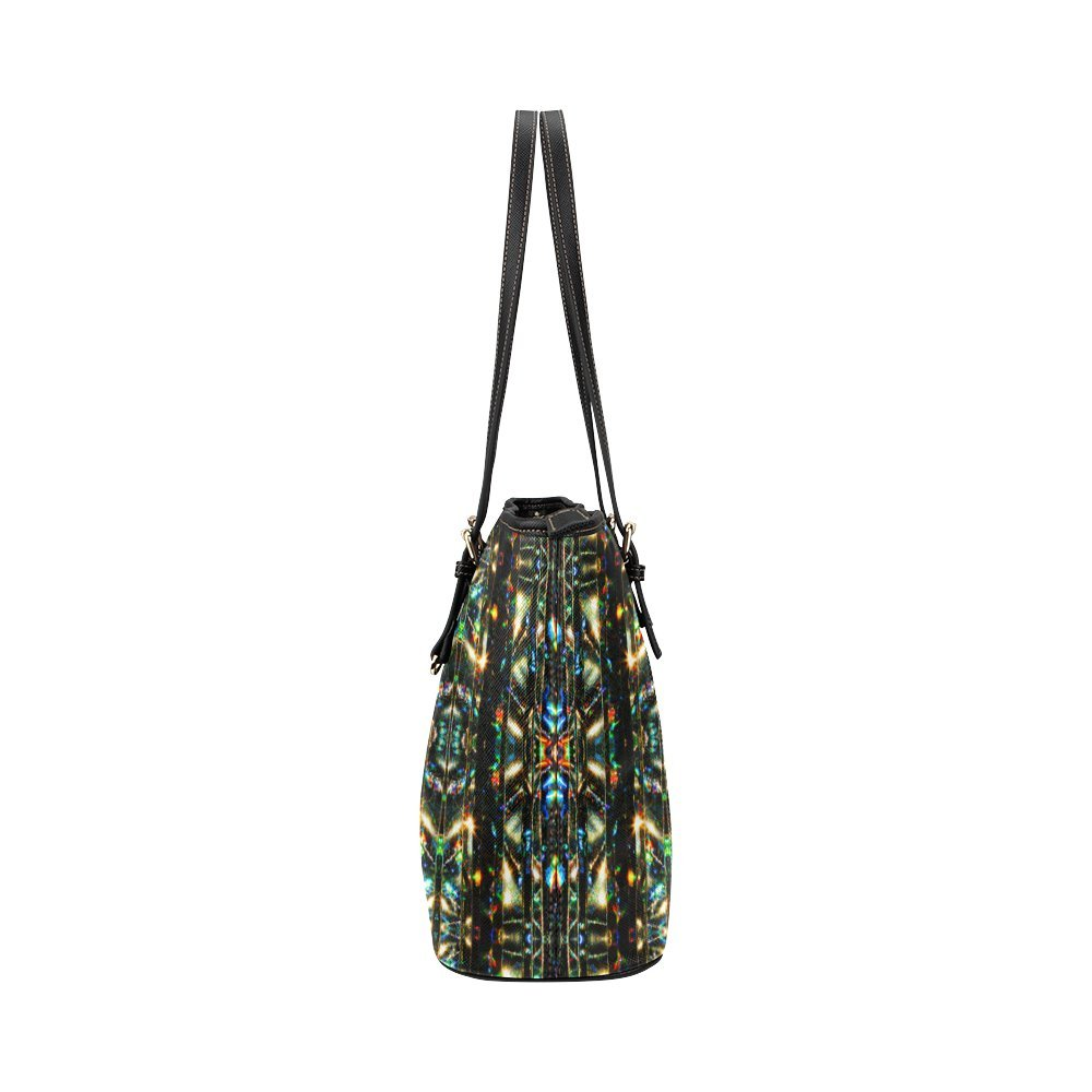InterestPrint Glitzy Sparkly Mystic Festive Black Glitter Ornament Pattern Leather Tote Bag Small
