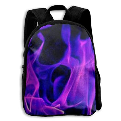 Purple Fire Flame Wallpaper Student Backpack School For Girls Boys Middle Cute Book
