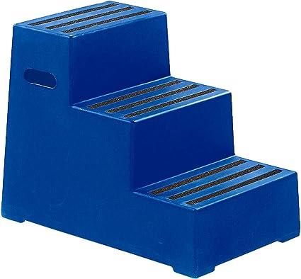 Escalera de plástico con peldaños antideslizantes – lavable, ensamblados en 14183: 2003e – 3 Peldaños, azul ultramar – Escalera escabeaux taburete escalones escalera escabeaux taburete plástico escalones de plástico taburete taburetes: Amazon.es ...