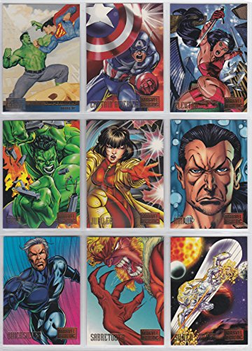 (1995 DC vs Marvel Base Set of 100 Cards, Superman, Spider-Man, Batman, X-Men)
