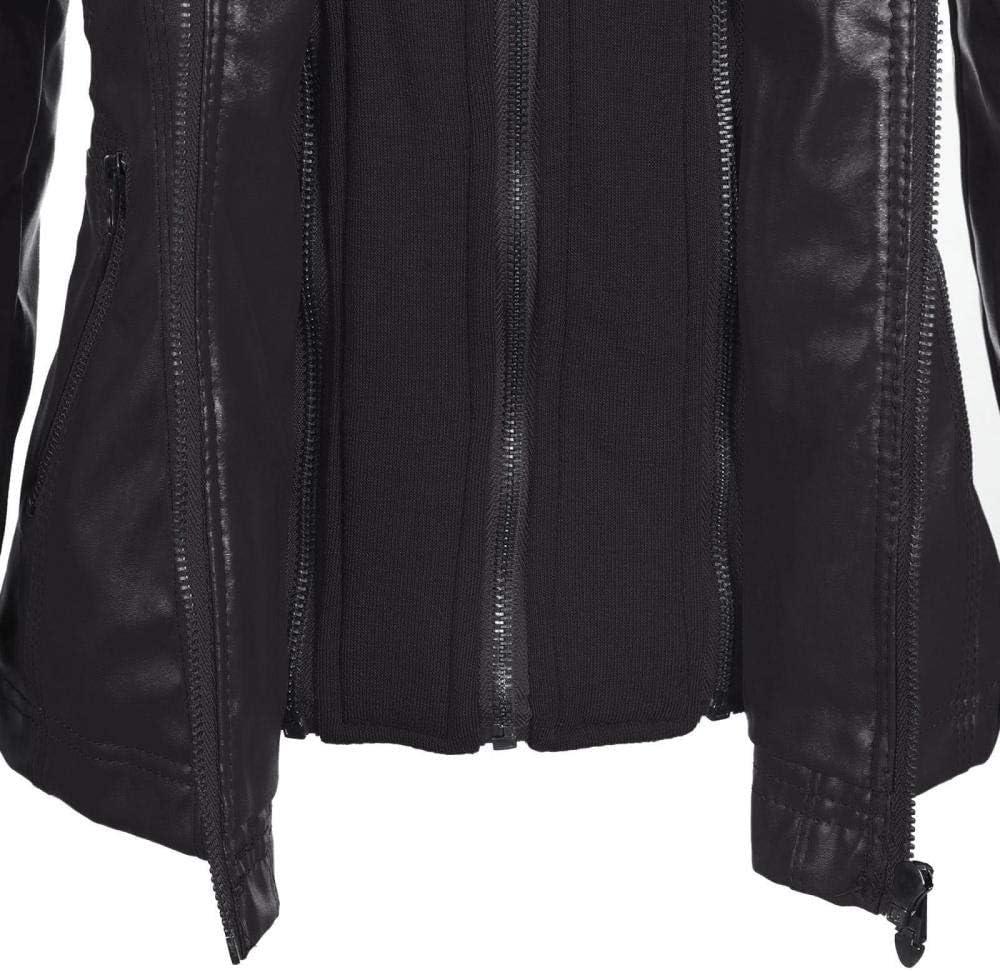 Fangfaner Veste en cuir à manches longues avec capuche amovible pour femme Noir