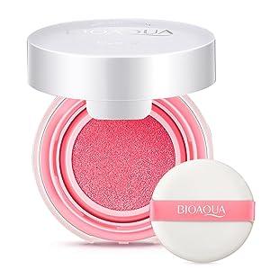 Air Cushion BB Cream, Waterproof Blusher Makeup Paste Nude Rouge Cream Blusher Powder with Blush Sponge(Peach Pink)