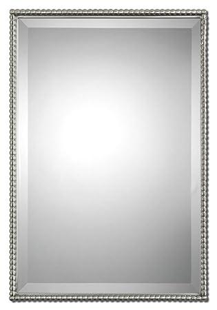 beaded rectangle silver vanity wall mirror thin nickel metal frame