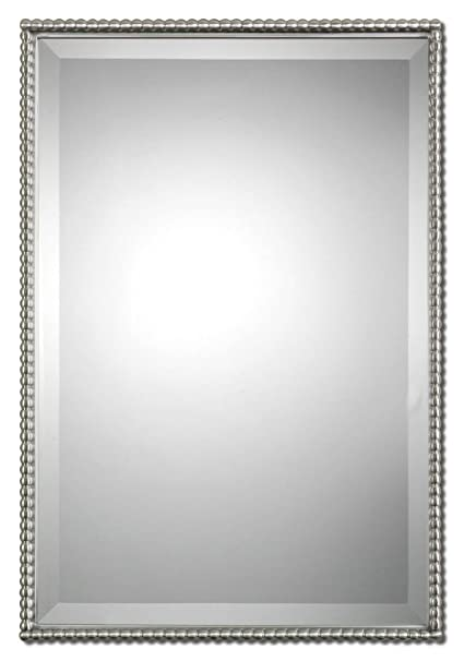 Amazoncom Beaded Rectangle Silver Vanity Wall Mirror Thin Nickel