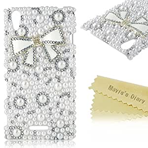 Sony Xperia T3 Case - Mavis's Diary 3D Handmade Cute Bling Crystal Bow Pearl Rhinestone Diamond White Case Hard Cover for Sony Xperia T3 D5102 with Soft Clean Cloth (White Bow)
