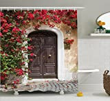 Ambesonne Wanderlust Decor Shower Curtain Set, Old Wooden Door Surrounded by Flowers European Style Medieval Entrance Italy Artful Print, Bathroom Accessories, 84 inches Extralong, Multi